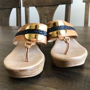 A. Giannetti Wedge Heel Leather Sandals